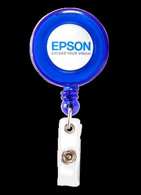 Porta Crachá Retrátil Personalizado Azul Translucido
